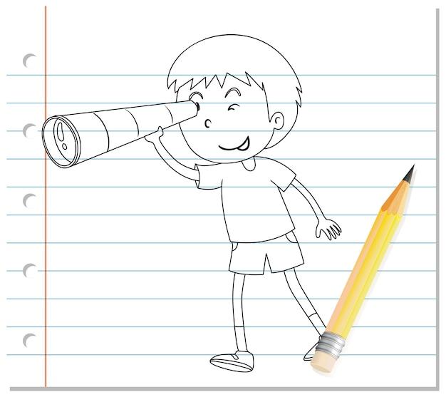 Escrita à mão de menino usando contorno de binóculos