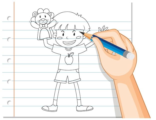 Escrita à mão de um menino brincando com a mão de uma boneca