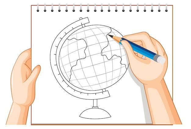 Escrita à mão do contorno do modelo do globo