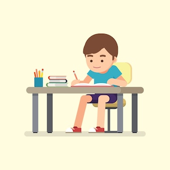 Escrita bonito feliz do menino de escola para trabalhos de casa, conceito do estudo, ilustração do vetor.