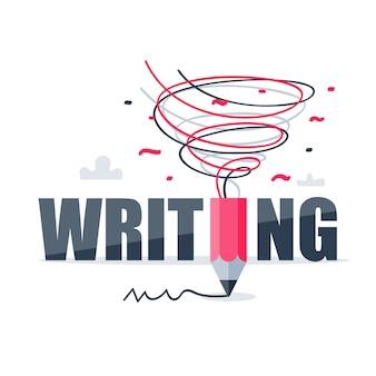 Escrita criativa, conceito de narrativa, oficina de design gráfico, ideia com lápis como um tornado, ilustração