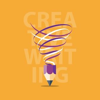Escrita criativa, conceito de narrativa, oficina, ideia com lápis como tornado, ilustração