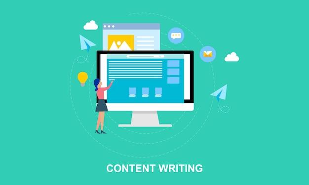 Escrita de conteúdo design plano, ilustração de blogging