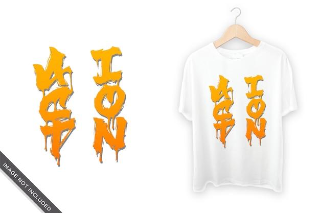 Escrita de mão de ação para design de camiseta