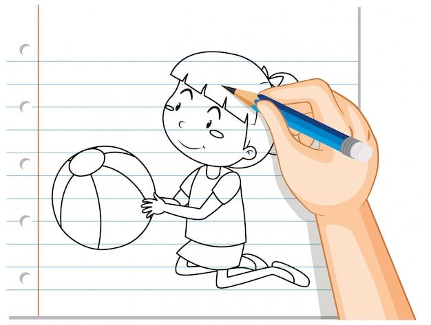 Escrita de mão de linda garota segurando o contorno da bola
