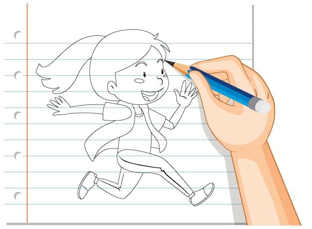 Escrita de mão de menina correndo contorno