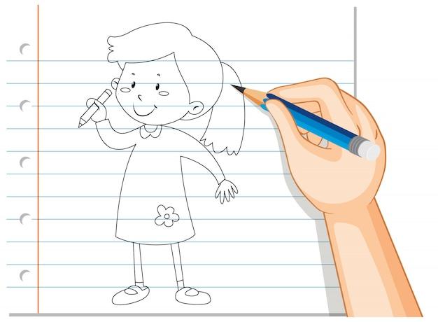 Escrita de mão de menina segurando o contorno do lápis