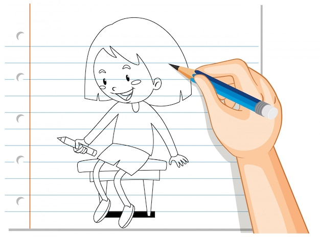 Escrita de mão de menina sentada no contorno da cadeira