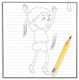 Escrita de mão de menino pulando contorno