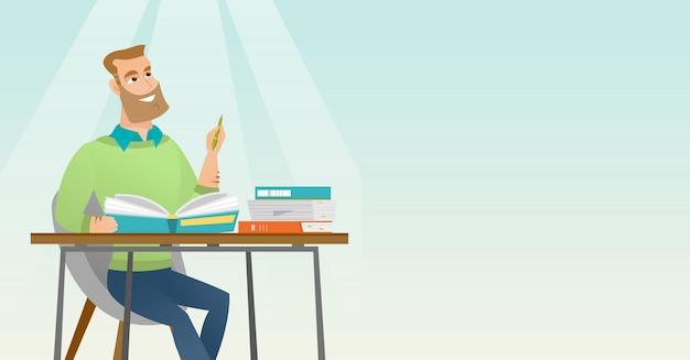 Escrita do estudante na ilustração do vetor da mesa.
