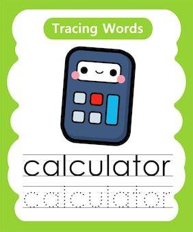 Escrita prática de palavras alfabeto rastreamento c - calculadora