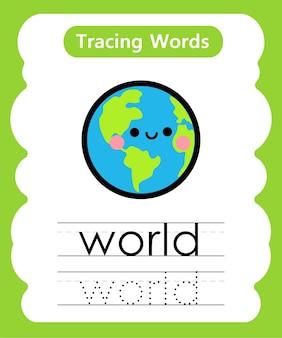 Escrita prática de palavras alfabeto traçado w - mundo
