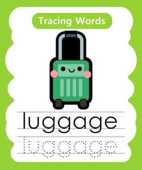 Escrita prática de palavras para alfabeto rastreamento l - bagagem