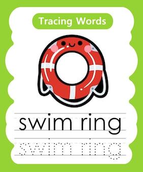 Escrita prática de palavras para rastreamento de alfabeto - anel de natação
