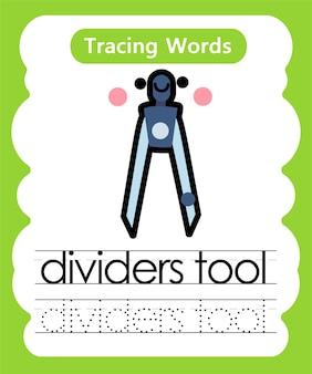 Escrita prática de palavras para traçar o alfabeto - ferramenta de divisores
