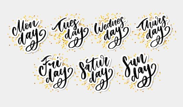 Escrito à mão dias da semana. fonte de tinta. adesivos para planejador e outros.