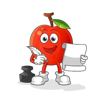 Escritor cereja. personagem de desenho animado