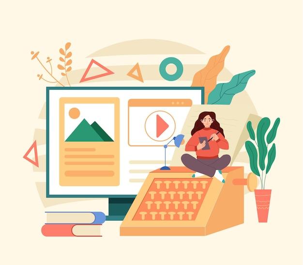 Escritor copywriter jornalista blogger freelancer flat