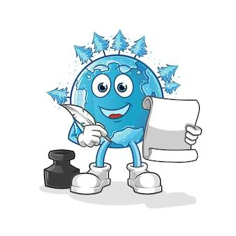 Escritor da terra de inverno. personagem de desenho animado