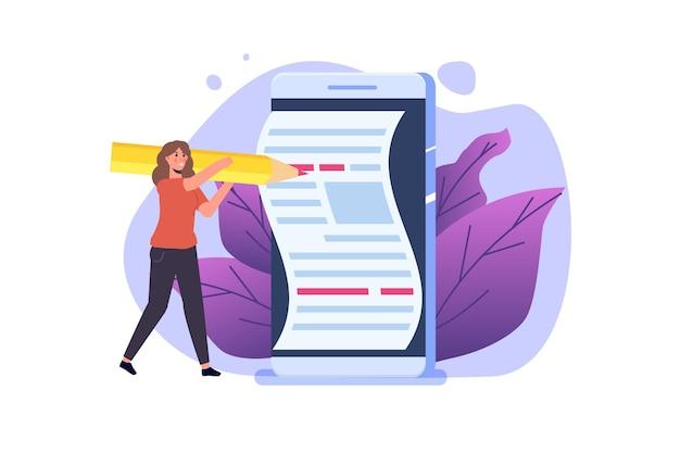 Escritor de conteúdo, blogs, conceito de escrita criativa com personagem. ilustração vetorial.
