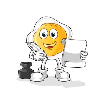 Escritor de ovos fritos. personagem de desenho animado