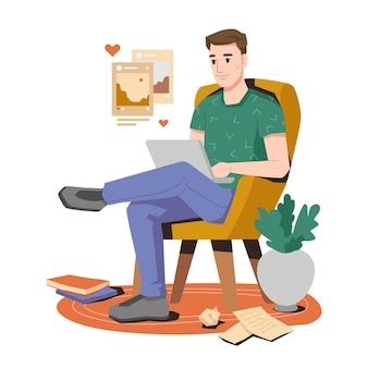 Escritor do blogger ou freelancer sentado com um laptop
