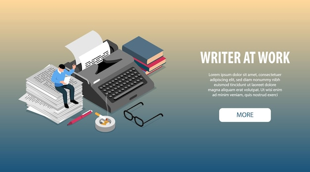 Escritor no trabalho atributos acessórios ferramentas isométrica banner web horizontal com livros máquina de escrever óculos caneta