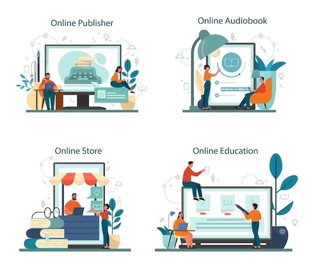 Escritor profissional ou serviço on-line de jornalista ou plataforma em conjunto de conceito de dispositivo diferente. editora e curso online. loja de livros e plataforma de audiolivro.