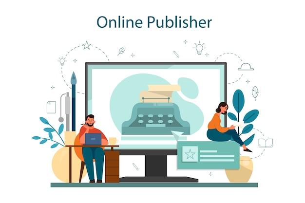 Escritor profissional ou serviço ou plataforma online de jornalista