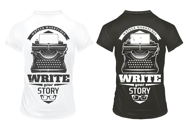 Escritor vintage imprime modelo com inscrições de máquina de escrever e óculos em camisas pretas e brancas isoladas