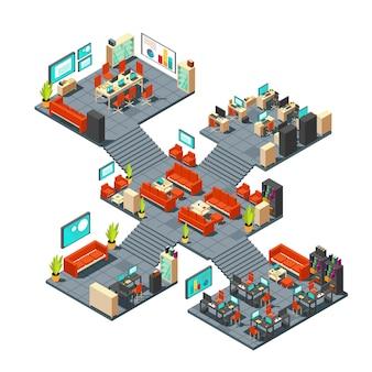 Escritório 3d profissional corporativo. centro de negócios isométrica andares ilustração vetorial interior