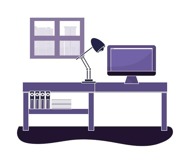 Escritório, com, computador, tecnologia, e, lâmpada, escrivaninha