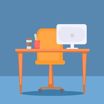 Escritório com material de mesa, computador e escritório.