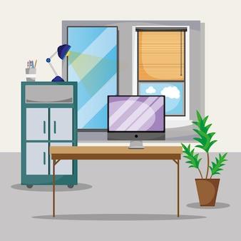 Escritório com mesa e acessórios flat to work ilustração vetorial