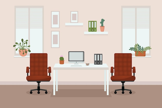 Escritório confortável com janelas, cadeiras de escritório, mesa, flores nas janelas, computador e café