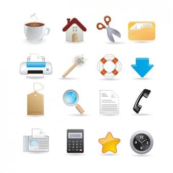 Escritório conjunto de ícones