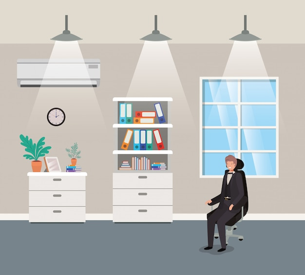 Escritório corredor, com, homem negócios, sentando