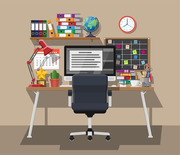 Escritório criativo moderno ou espaço de trabalho doméstico.