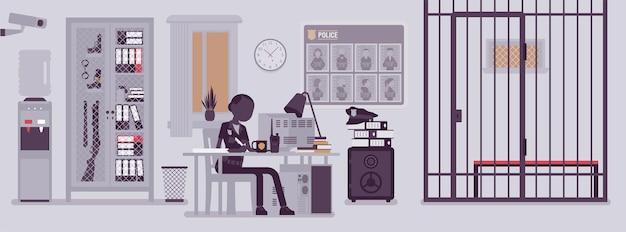 Escritório da delegacia de polícia e policial trabalhando. policial sentada no local de trabalho no departamento de cidade, interior da sala com cartaz de procurado ferramentas profissionais. ilustração vetorial com personagens sem rosto