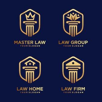 Escritório de advocacia, casa de advocacia, direito mestre, com inspiração de design de logotipo de escudo.