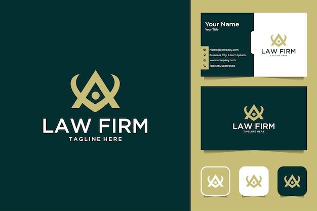 Escritório de advocacia com design de logotipo da letra a e cartão de visita
