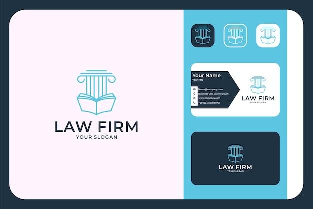 Escritório de advocacia com design de logotipo de livro e cartão de visita