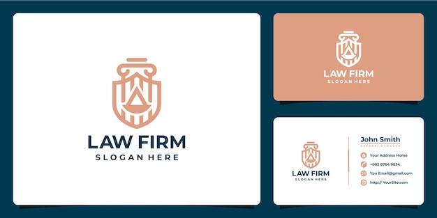 Escritório de advocacia com design de logotipo de luxo monoline e cartão de visita
