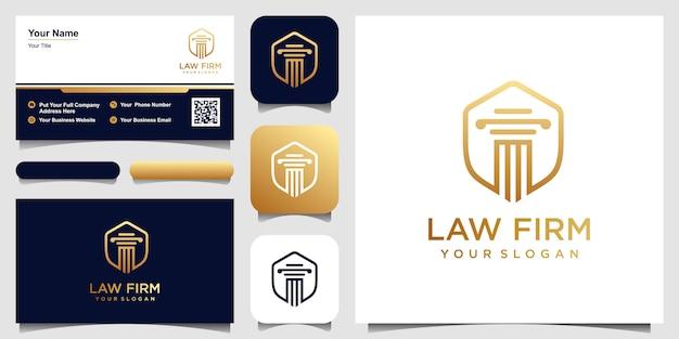 Escritório de advocacia com inspiração de design de logotipo de escudo. conjunto de design de logotipo e cartão de visita