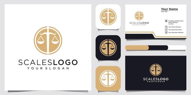 Escritório de advocacia com logotipo de escalas e design de cartão de visita