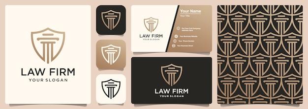 Escritório de advocacia com logotipo escudo, padrão e design de cartão de visita