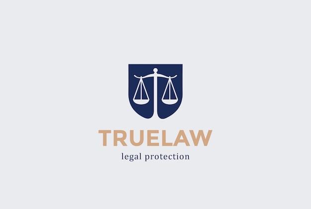 Escritório de advocacia de escudo de escalas de logotipo. estilo de espaço negativo