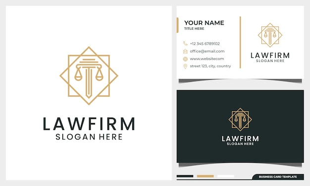 Escritório de advocacia elegante, advogado, logotipo da coluna com estilo de arte de linha e modelo de cartão de visita