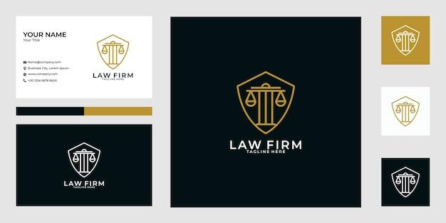 Escritório de advocacia escudo linha arte logo design e cartão de visita