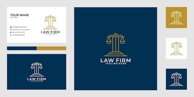 Escritório de advocacia line art logo design e cartão de visita